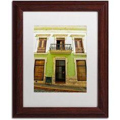 Trademark Fine Art Old San Juan 5 inch Canvas Art by CATeyes, White Matte, Wood Frame, Size: 11 x 14, Green