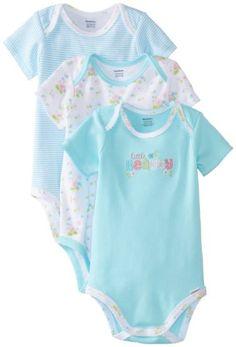 Gerber Baby-Girls Newborn 3 Pack Bodysuits-Beautiful Flower, Aqua, New Born Gerber