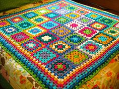 completed granny square throw by Adaiha, via Flickr