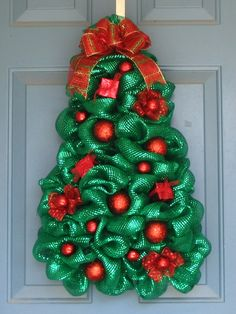 Metálico verde Deco malla Navidad guirnalda de árbol rojo
