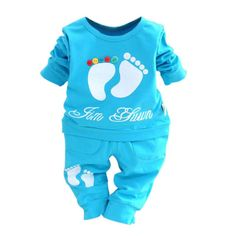 Baby Boys Girls Feet Print Outfits Sets Short Sleeve T shirt Pants Summer Clothes Set. Click visit to buy #BabyGirlClothingSet #BabyGirl #ClothingSet