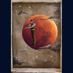Shoot The Moon, Paper Moon, People Sitting, How To Memorize Things, Photoshop, Painting, Art, Art Background, Painting Art