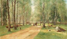 Olof Hermelin (1827-1913): Landskap med figurer, 1886