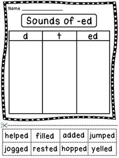 3 sounds of -ed word sort and other grammar worksheets to help make grammar hands on! These sorts use easy, decodable words so students can focus on the grammar concept instead of struggling to read the words