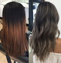 Ash grey transformation Started with 6 regrowth and an ombre over box dye… Ash Hair, Ash Grey Hair, Ash Tone Hair, Asian Ash Brown Hair, Dark Hair With Highlights, Hair Color And Cut, Hair Color For Asian, Hair Dos, Gorgeous Hair