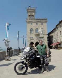 Rhys and 'Tigger' arrive in San Marino on their world record breaking ride.