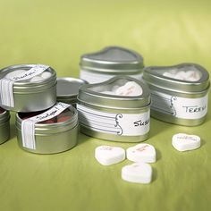Heart Favor Tins with Clear Top Lids