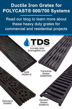 TDS offers a variety of heavy duty ductile iron grates for your commercial and residential projects. Read our blog for more information. Shop our online store at Drainagekits.com, or call 610-882-3630. #draingrates #trenchdrainsystems #polycast #replacementgrates #castiron #slottedgrates #stormwater #warehouse #driveway Trench Drain Systems, Cast Iron, It Cast, Ductile Iron, Drainage Solutions, Warehouse, Goal, Commercial, Store
