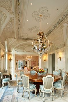 French Chateau Dining ROOM. HERE'S ANOTHER STUNNING DINING ROOM W/ALL THE GORGEOUS THINGS POSSIBLE 2 PUTIN A ROOM, INCLUDING MANY STUNNING ARCHITECTURAL FEATURES. THE. CEILING, CHANDLER, BEAUTIFULLY OLDWORLD COLORS & FINISHES. I LIKE THE SCONCES2.THIS GORGEOUS DINING ROOM IS IMPRESSIVE & WILL HAVE UR FRIENDS TALKING ABOUT YOU & YOUR BREATHTAKING DINING ROOM 4 MONTHS. CHERIE