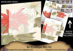 Poinsettia Large Blooms 8in Envelope Mini Kit on Craftsuprint - Add To Basket!