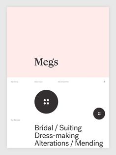 Brand identity and website by Auckland-based Studio South for New Zealand tailoring service Meg's