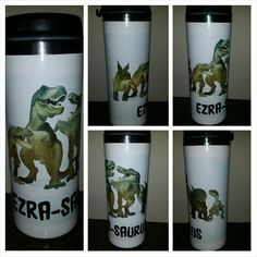 Custom 14oz SS travel cup with dinosaurs. www.facebook.com/mgspromos