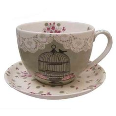 adorable birdcage teacup & saucer set