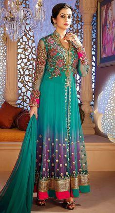 Beautiful Bluish Purple, Cyan Blue Net #Salwar Suit