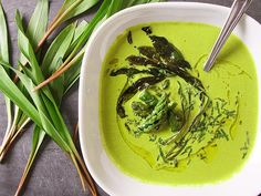 Asparagus And Ramp Soup With Yogurt