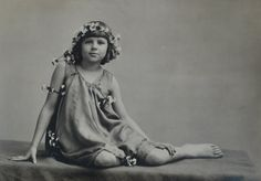 Antique Late 1900s Early 1920s Photograph of Little Girl Wreaths and Flowers 1900s Photo Black and White