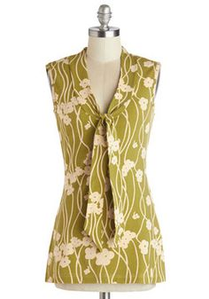 Housewarming Your Home Top. Your new abode feels all the more welcoming when you wear the soothing olive and beige tones of this cotton tank top by Effies Heart! #green #modcloth