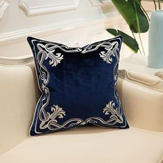 Navy Blue Velvet Ornate Embroidered Cushion Cover - Royal Collection - 50 x 50cm / Blue-2