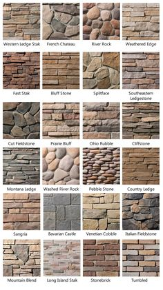 Different stone looks.