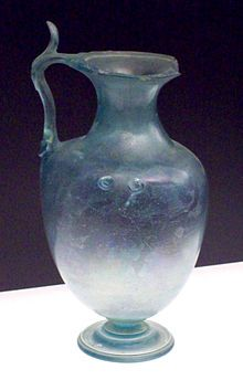 Roman blown glass. 300 ACE. Earliest blown glass is found in second millenia BCE Persia (Iran).