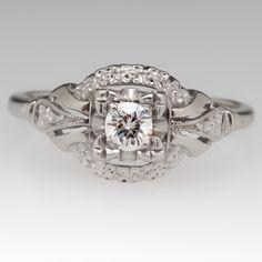 1950's Floral Motif Diamond Engagement Ring 14K Gold & Palladium