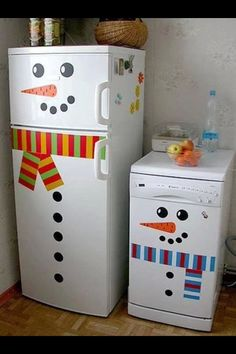 Kitchen Festivities For The Kids :)You can use magnets, different colored duct tapes or even paper - it's cute, imaginative and fun for the kiddos to do with you!!! Please like!!!