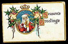 Christmas Greetings Santa Claus 1912 Postcard. Click on the image for more information.