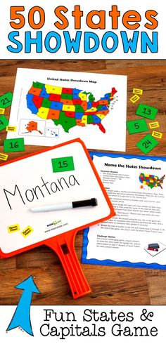 How well do your students know the states and capitals of the US? If they need practice, check out this collection of fun puzzles and learning games including 50 States Showdown! Engage In Learning, Cooperative Learning, Learning Games, Kids Learning, Geography Activities, Class Activities, Teaching Social Studies, Teaching Resources, Student Teaching