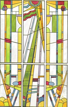Frank Lloyd Wright Glass | ... use of bright colours making it extremely suitable for stained glass