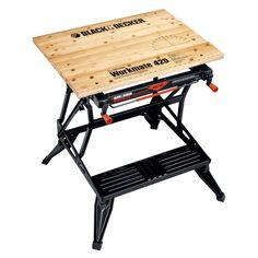 Its dual height allows for use as a workbench, bench tool stand, vise, or sawhorse. Workmate transforms into a roomy workbench or bench tool stand. Woodworking Bench Vise, Folding Workbench, Woodworking Projects, Workbench Table, Workbench Ideas, Woodworking Shop, Folding Cart, Industrial Workbench, Workbench Designs