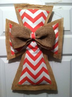 Large Coral Chevron, Burlap Cross with bow on Etsy, $22.00