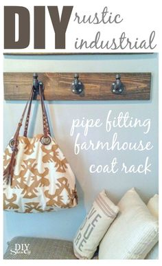 rustic industrial pipe fitting coat rack @diyshowoff.com
