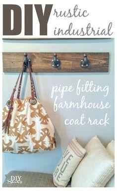 rustic industrial pipe fitting coat rack @diyshowoff.com