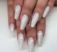 sparkly silver acrylics