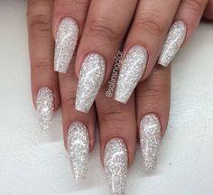 sparkly silver acrylics