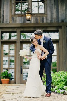 Bride and Groom Barn Wedding Navy Wedding Suit