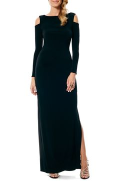 Laundry by Shelli Segal Cold Shoulder Jersey Gown (Regular & Petite)