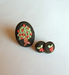 Embroidered Tree of Life Jewelry Set Flower by RedWorkStitches