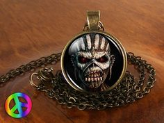 Handmade Iron Maiden Book of Souls Fan Glass Pendant Mens Necklace Jewelry Gift