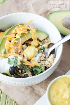The Whole Bowl - a bowl protein packed with quinoa, beans, and other whole ingredients. | Happy Food Healthy Life