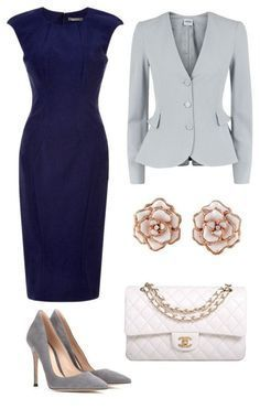 Take a look at 15 ways to wear a navy dress outfit and what accessories to choose in the photos below and get ideas for your own amazing outfits! A scalloped navy shift dress styled for an all day look with… Continue Reading → Business Attire, Business Outfits, Office Outfits, Business Fashion, Business Casual, Office Wardrobe, Business Formal, Capsule Wardrobe, Navy Dress Outfits