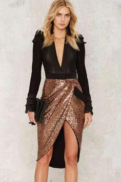 Zhivago Eye of Horus Sequin Skirt - Copper