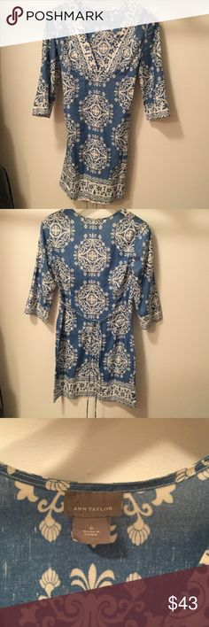 Summer 3/4 sleeve linen dress Classic pattern with low v-neck, side zipper and tie in back Ann Taylor Dresses
