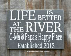Life Is Better at the River House Decor River Custom Personalized Family Name Sign Wood Hand Painted by Carova Beach Crafts & Signs River House Decor, Boat Names, River Cottage, Cottage Signs, Lake Cabins, Name Plaques, Family Name Signs, Beach Signs, Building A Deck