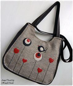Valentin madaras, szíves, mesevirágos univerzális táska , Táska, Ruha, divat, cipő, Válltáska, oldaltáska, Tarisznya, Meska