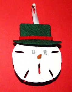 Sand Dollar Snowman Face Christmas Ornament by BeachberryCreations, $4.75