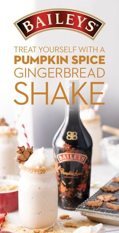 Enjoy pumpkin spice and everything nice all in one shake! Welcome the flavors of Fall with Baileys Pumpkin Spice Gingerbread Milkshake, mini gingerbread man cookie included. To make, add 1 oz. Baileys…More Thanksgiving Drinks, Holiday Drinks, Fun Drinks, Yummy Drinks, Alcoholic Drinks, Winter Cocktails, Drinks Alcohol, Alcohol Recipes, Drink Recipes