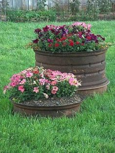 cool flower pots made from wheel rims