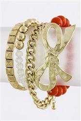 Bow Stud Beaded Multi Set Bracelet