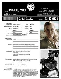 SHIELD Bio Sheet for Captain Marvel (Carol Danvers) with Katee Sackhoff fan-casting.